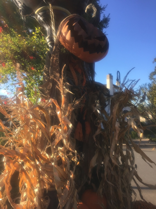 Decorations in Sleepy Hollow with Corn Stalks and Jack-o-Lantern head