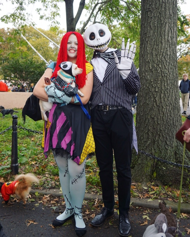 A couple and their chihuahua dressed up as Jack Skellington and Sally from The Nightmare Before Christmas